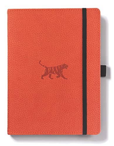 life A5+ Hardcover Notizbuch - PU-Leder, Mikroperforiert 100gsm Creme Seiten, Innentasche, Gummiband, Stifthalter, Lesezeichen (Gepunktet, Orange Tiger) ()