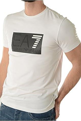 EA7 Box Logo Crew Neck T-shirt WHITE XXL