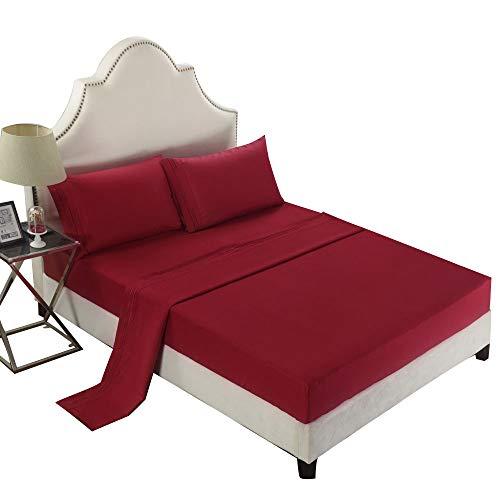 OAMORE Juego de sábanas de 4 Piezas Color Liso Bordado Juego de Cama de Lujo Completo Incluye Funda de colchón 2 Fundas de Almohada y sábana. (Red, Full)