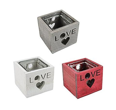 Teelichthalter Love 3 Stück gemischt (Herz Glas Teelicht)