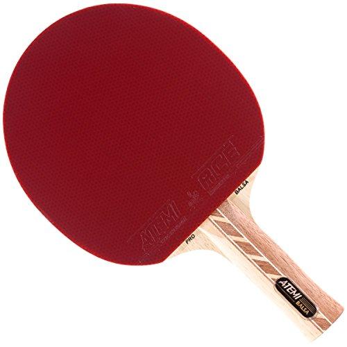Atemi 4000 Tischtennisschläger (Balsaholz) Pro Offensive+ Ping Pong Schläger   Verbesserte Kontrolle, Geschwindigkeit, Rotation   Anfänger & Profis   5-Schichten, Wettkampf Gummi (Anatomisch)