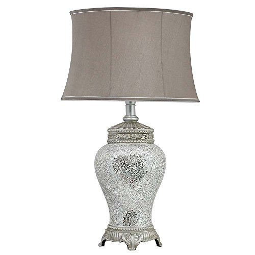 Angraves Silver Sparkle Mosaic Antique Silver Regency Lamp and Silver Trimmed Taupe Shade