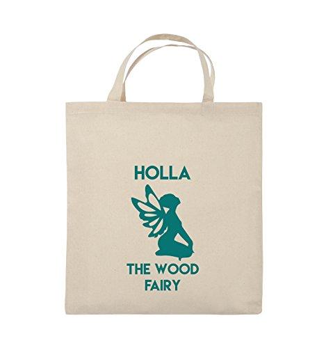 Borse Da Commedia - Holla The Wood Fairy - Borsa In Juta - Manico Corto - 38x42cm - Colore: Nero / Rosa Naturale / Turchese
