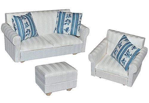 Preisvergleich Produktbild 3 tlg. Set: Miniatur Wohnlandschaft / Sofa Couch + Sessel + Hocker mit Kissen - für Puppenstube Maßstab 1:12 - Puppenhaus Puppenhausmöbel Sessel Wohnzimmer Klein