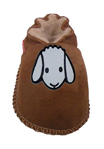 Plateau Tibet - Chaussons bébé avec doublure en VERITABLE laine d'agneau Bottines Chaussures en cuir souple garçon fille enfant - Mouton 16 17 18 19 22 23