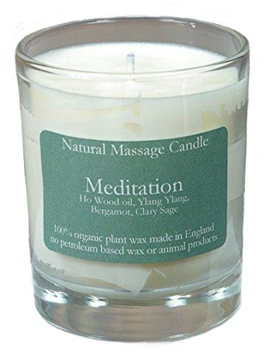 Massage Kerze MEDITATION mit Ölen aus Ho Holz Öl,Ylang Ylang, Bergamotte, und Salbei, hergestellt aus 100% Pflanzenwachs im recyceltem Glas -