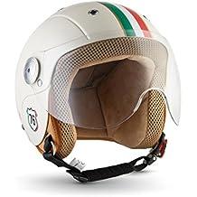 SOXON SK-55 Kids Imola · Casco Jet Urban Kids Scooter Helmet Retro NINOS Moto motocicleta Vespa Chopper Bobber Biker Cruiser Urbano Vintage Pilot Mini-Jet Mofa · ECE certificado · visera incluido · incluyendo bolsa de casco · Beige · XS (51-52cm)