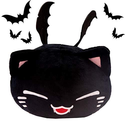 (Scarry Nemu Neko Nemuneko schwarz weiß Black White Vampir Halloween gruselig Vampirzähnen Sleepy Cat Plüsch 40x30x20cm Plüschtier Plüschfigur Plüschi XXL Kuscheltier Katze mit Fledermaus Flügel)