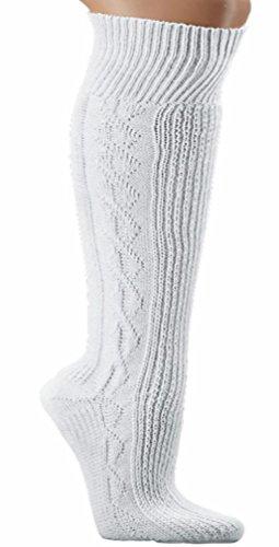 Herren Trachtensocken Trachten Socken Strümpfe für Lederhose Kniebund Kurz Hose weiss (47-49) 47-49