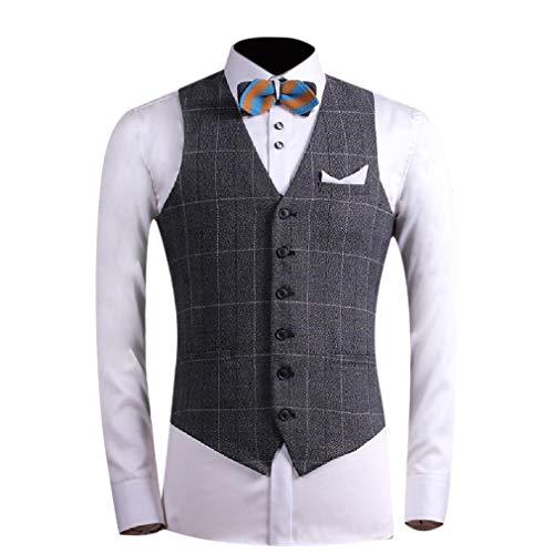 Herringbone Jacket Charcoal (CuteRose Men V Neck Regular Fit Button Skinny Blazer Jacket Business Suit Vests 7 L)