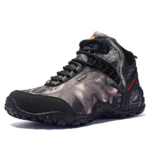 Ysysdyp - Scarpe da Trekking da Uomo, Impermeabili, Resistenti all'Usura, Adatte per Corsa ed Escursionismo, Grigio, 43