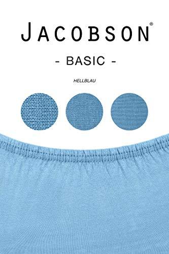 Jacobson Jersey Spannbettlaken Spannbetttuch Baumwolle Bettlaken (60×120-70×140 cm, Hellblau) - 3