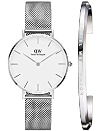 Daniel Wellington Petite Sterling White 32 mm Dial Analogue Women s Watch  and Silver Cuff Combo 507e407ecfe
