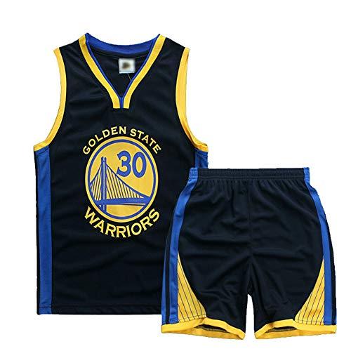 HS-ATI NICE Kinder Basketball Trikots 30# Stephen · Curry Golden State Warriors Vintage Jungen Kurzarm Westen Uniform Kinder Basketball Tops Shirts,M:130cm~140cm