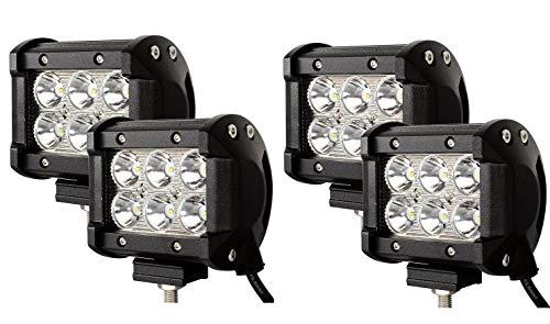 WGE Barre de lumière de LED, 4 antibrouillard Tout-Terrain de Travail de la lumière 12v 24v de Travail de Pouce 18w LED pour Le Tracteur de Camion,4x18W