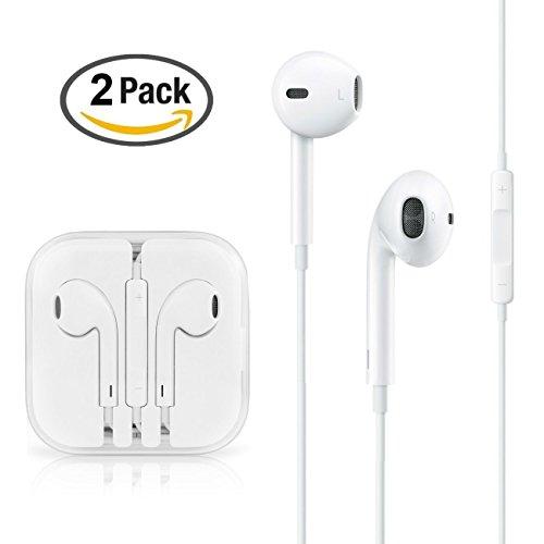 RcGoods - Auricolari in-Ear di Alta qualità, 2 Pezzi, Colore: Bianco, con Vivavoce, Microfono e regolatore Volume, Vivavoce per cellulari Apple iPhone, iPad, Laptop, Tablet, Smartphone