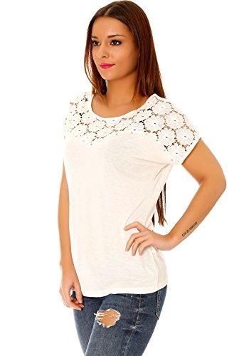 dmarkevous - Tee shirt Top beige femme manches courtes avec dentelle sur le buste et au dos. Beige