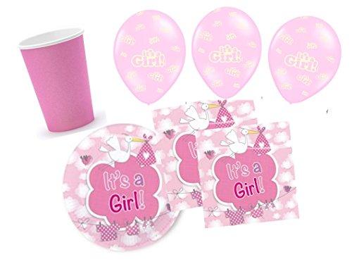 Partydekoset Babyparty Baby Shower Mädchen rosa für 16 Personen 58 teilig Pullerparty Baby Geburt Babyparty Komplettset Tischdeko Party Geschirr