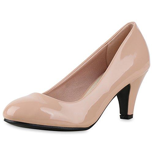 SCARPE VITA Klassische Damen Pumps Basic Leder-Optik Schuhe Stiletto Mid Heels 165377 Rosa Lack - Rosa Damen Kostüm Schuhe