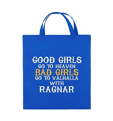 Comedy Bags - Good girls go to heaven bad girls go to valhalla - Jutebeutel - kurze Henkel - 38x42cm - Farbe: Hellblau / Weiss-Royalblau Royalblau / Weiss-Gelb