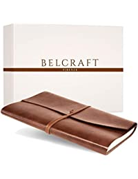 Tivoli Liscio A4 Large Recycled Leather Bound Journal, MADE IN ITALY, Writing Notebook, Travel Diary & Notepad, Gift Idea, Christmas Gift for Man & Woman, Including SPECIAL GIFT BOX, A4 (21x30 cm) Tan