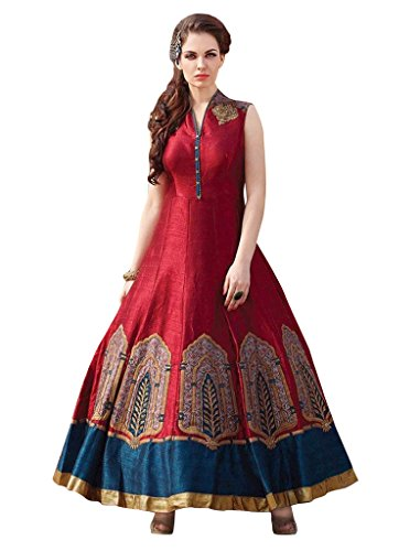 Sancom Brand Red Colour Banglori Silk With Heavy Embroidery Work Semi-Stitched Anarkali Suit  available at amazon for Rs.1099