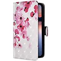 Uposao Compatible para Huawei P40 Pro Funda Piel PU Cuero Libro Flip Cover con Tapa,Glitter Brillante Purpurina Cubierta Billetera Soporte Plegable Ranura Tarjeta,Cierre Magnético,Flor durazno
