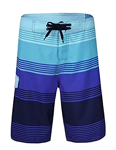 Nonwe Men's Lightweight Quick-Dry Beach Shorts with Lining Blue Striped 34