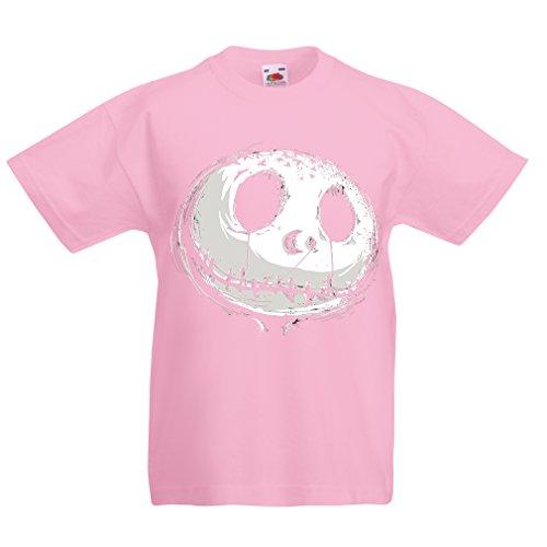 Kinder T-Shirt beängstigend Schädel Gesicht - Alptraum - Halloween-Party-Kleidung (9-11 years Pink Mehrfarben) (Sehr Beängstigend Clowns)