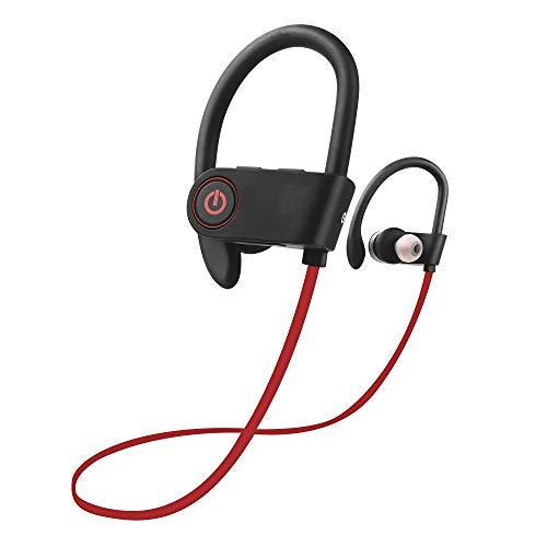 HONGLE Ecouteur Bluetooth IPX7 Étanche Écouteurs sans Fil avec Micro HD Stéréo Anti-Bruit Casque Oreillette Intra Auriculaire pour Sport Gym Jogging Téléphone Smartphone