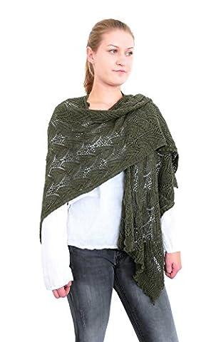 Damen Stola Ajour Muster Umschlagtuch Wickelschal Cape Wraps Überwurf (8002) (Oliv grün) (Hippie Vintage-wrap)