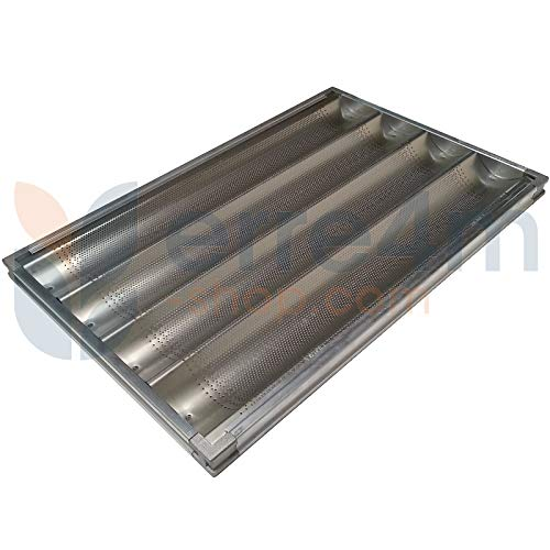 Erre4m Gelochtes Backblech für Baguette, Maße: 60 x 40 cm auf Aluminiumrahmen, professionell.