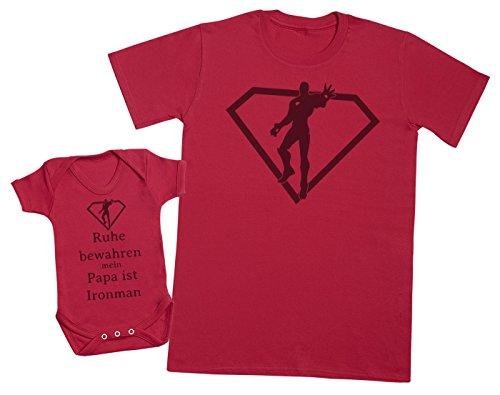 Ruhe bewahren mein papa ist Ironman - Passende Vater Baby Geschenkset - Herren T-Shirt & Baby Strampler / Baby Body - Rot - L & 0-3 Monate