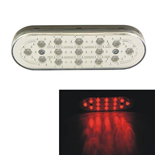 ILS - Car Auto 15 LED White Shell Brake Lamp Stop Parking Emergency Safety Warning Light Red Light (Tail Light Trailer Lense)