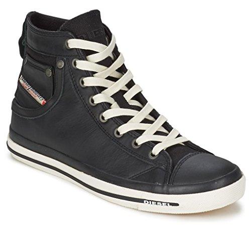 Diesel Exposure iv Noir Blanc Nouveau Femmes Cuir Hi Baskets Chaussures Bottes