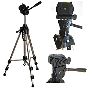 """Ex-Pro TR-550A Professional Photographic Camcorder Tripod for Panasonic - (530mm - 1450mm / 57"""") Light Weight, Full Geared system, Fluid Pan Head, 3 Section Lock Legs, Spirit Level, Fast Install, Quick Release, High Quality."""