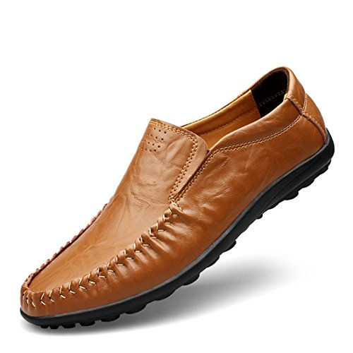 Minitoo Boys Mens Rubble Sole Casual Daily Loafers Dark Brown