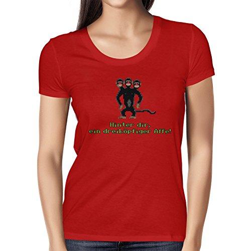 NERDO - Dreiköpfiger Affe - Damen T-Shirt Rot