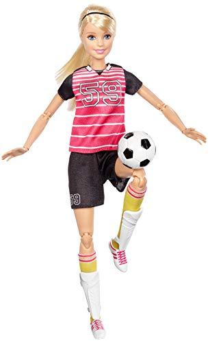 Barbie- Bambola Calciatrice, con 22 Punti Snodabili per Infiniti Movimenti, Giocattolo per Bambini 3 + Anni, DVF69