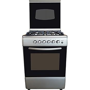 Cucina LAREL silver/inox 60x60 4 fuochi con forno a gas metano o GPL, grill  elettrico e coperchio IN VETRO