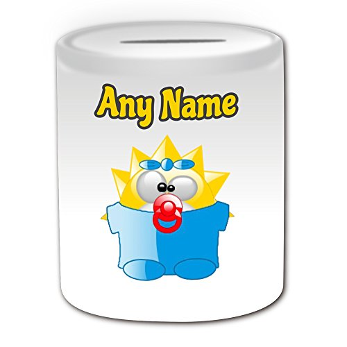 Personalisiertes Geschenk – Silly Maggie Simpson Spardose (Pinguin Cartoon Charakter Kostüm Design Thema, weiß) – alle Nachricht/Name auf Ihre einzigartige – Funny Neuheit kawaii Humor Anime Animation Film Movie Game Roman Art Clipart Episode TV Fernseher Serie Japan japanische Manga Comic Comedy Streifen Buch Disney Zeichnen Malen Superheld Hero Super Familie Springfield Bart Homer Lisa Marge