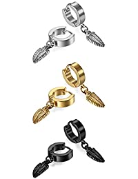Men's Women's 3Pair Stainless Steel Black Feather Pendant Stud Earrings Set Gold Silver Oidea Vintage Round Hoop Earrings Huggie Stud Earrings Set