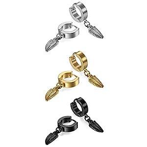 Damen Herren Feder Ohrstecker Set, OIDEA Creolen Ohr Feder Anhänger Ohrpiercing Ohrringe schwarz gold silber