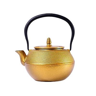 WTDlove Théière en fonte japonaise en fonte pot non couché pot de fer doré pot fer théière Antique 1,2 L