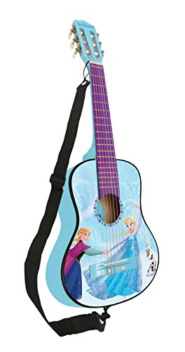 Lexibook Disney Frozen Elsa Acoustic Guitar, mediator and guitar strap provided, 6 nylon cords, learning guide included, Blue, K2000FZ