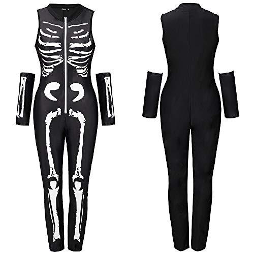 stüm Damen Vampir,Women's Spandex Printed Glow-In-The-Dark Skeleton Catsuit,Weiße 2XL ()