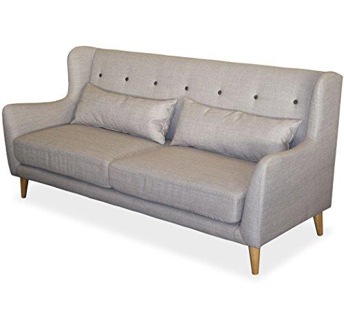 KMH, Gemütliches 3-sitzer Sofa 'Juist' mit grauem Strukturstoff bezogen (#204619)