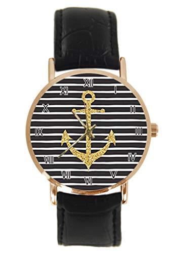 Vintage Nautische Anker mit Rosenblüten Armbanduhr Fashion Klassisch Unisex Analog Quarz Edelstahl Gehäuse Lederarmband Uhren (Nautische Uhr)