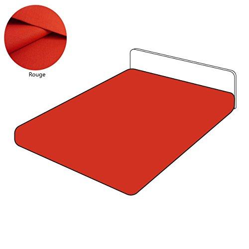 SUR-MESURE-DECO Drap Housse Lin 105 Fils/cm² uni Rouge 160x200