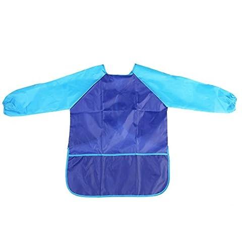 PIXNOR Wasserdichte Malschürze mit Ärmeln für Kinder (blau)